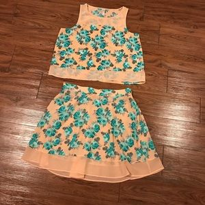 Xhilaration Peach and Turquoise Dress Set